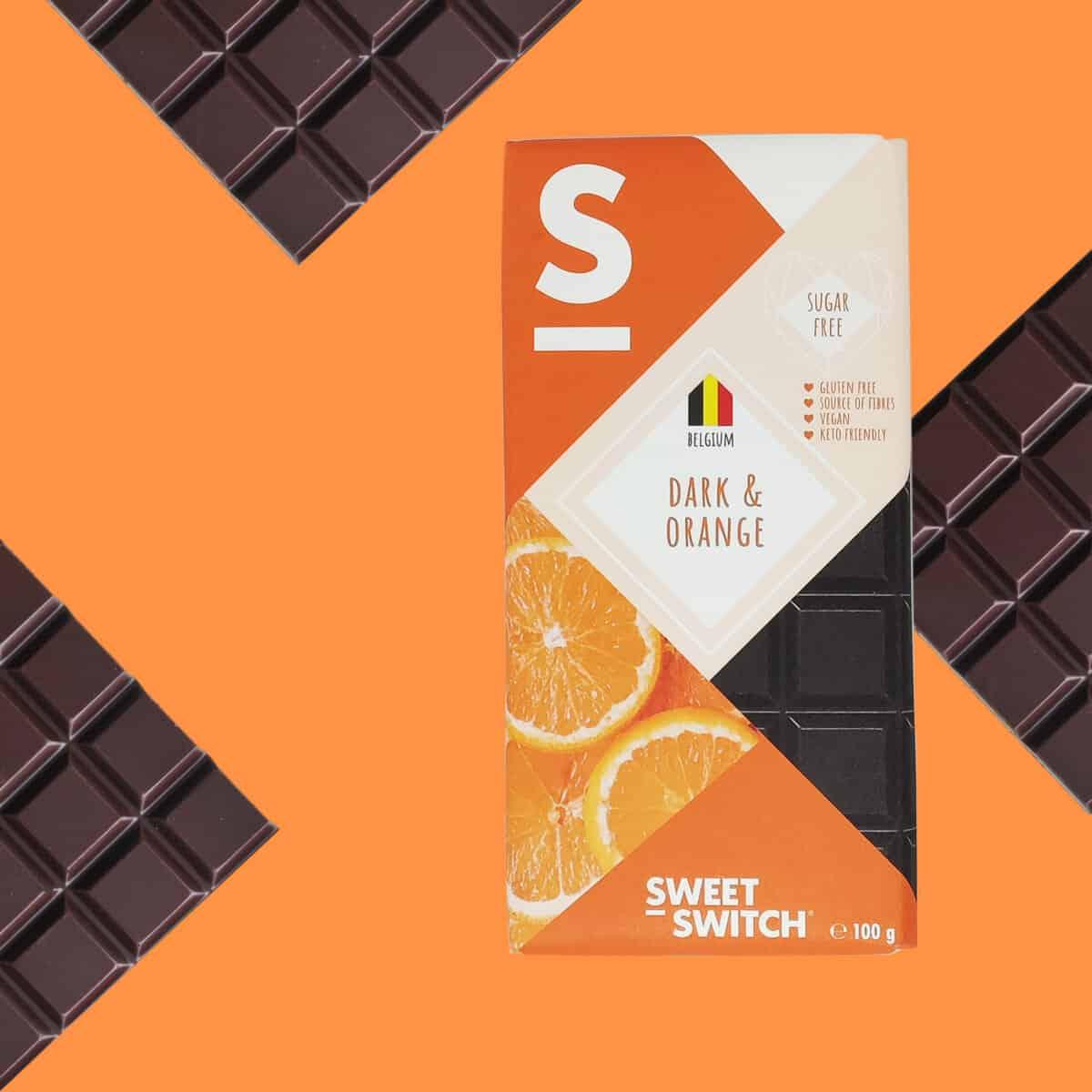 sugar free healthy confectionery SWEET-SWITCH dark chocolate + orange